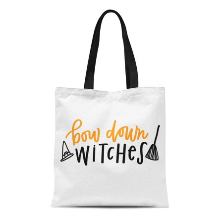 ASHLEIGH Canvas Bag Resuable Tote Grocery Shopping Bags Halloween Bow Down Witches Witch Autumn Broom Cursive Drawing Fall Tote Bag