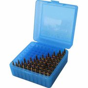 MTM R-100 RIFLE AMMO BOX MED CAL 243/308 100RD POLY CLEAR BLUE