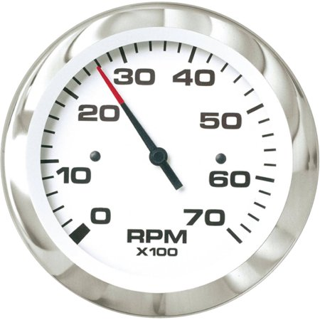 Sierra 65693P Lido Series 3  White And Stainless Steel Electric Outboard And 4 Stroke Gas Engine 0 7 000 Rpm Dial Range Tachometer Gauge With Outboard Alternator Or Coil Sender Code