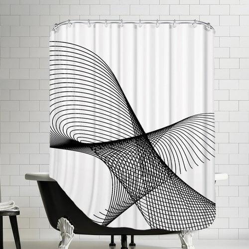 East Urban Home Line Swirl 3 Cotton Shower Curtain