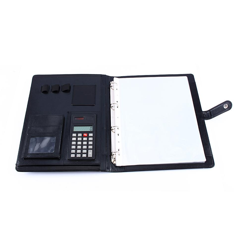 Yosoo Calculator,A4 Conference Folder Portfolio Ring Binder Organiser Calculator Leather US Stock - image 7 of 9