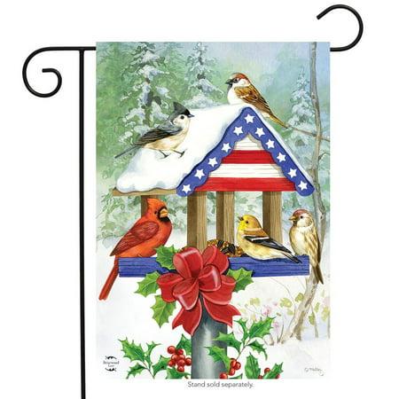 Patriotic Christmas Birdfeeder Garden Flag Cardinal Chickadees 12.5