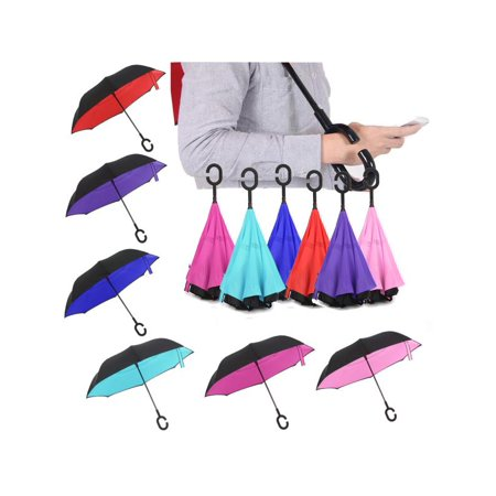UV Protection Reverse/Inverted Double-Layer Waterproof Umbrella, C-Shape Handle for Car Rain Outdoor Inside-Out Folding Straight Umbrella Self-Standing](Pink Drink Umbrellas)
