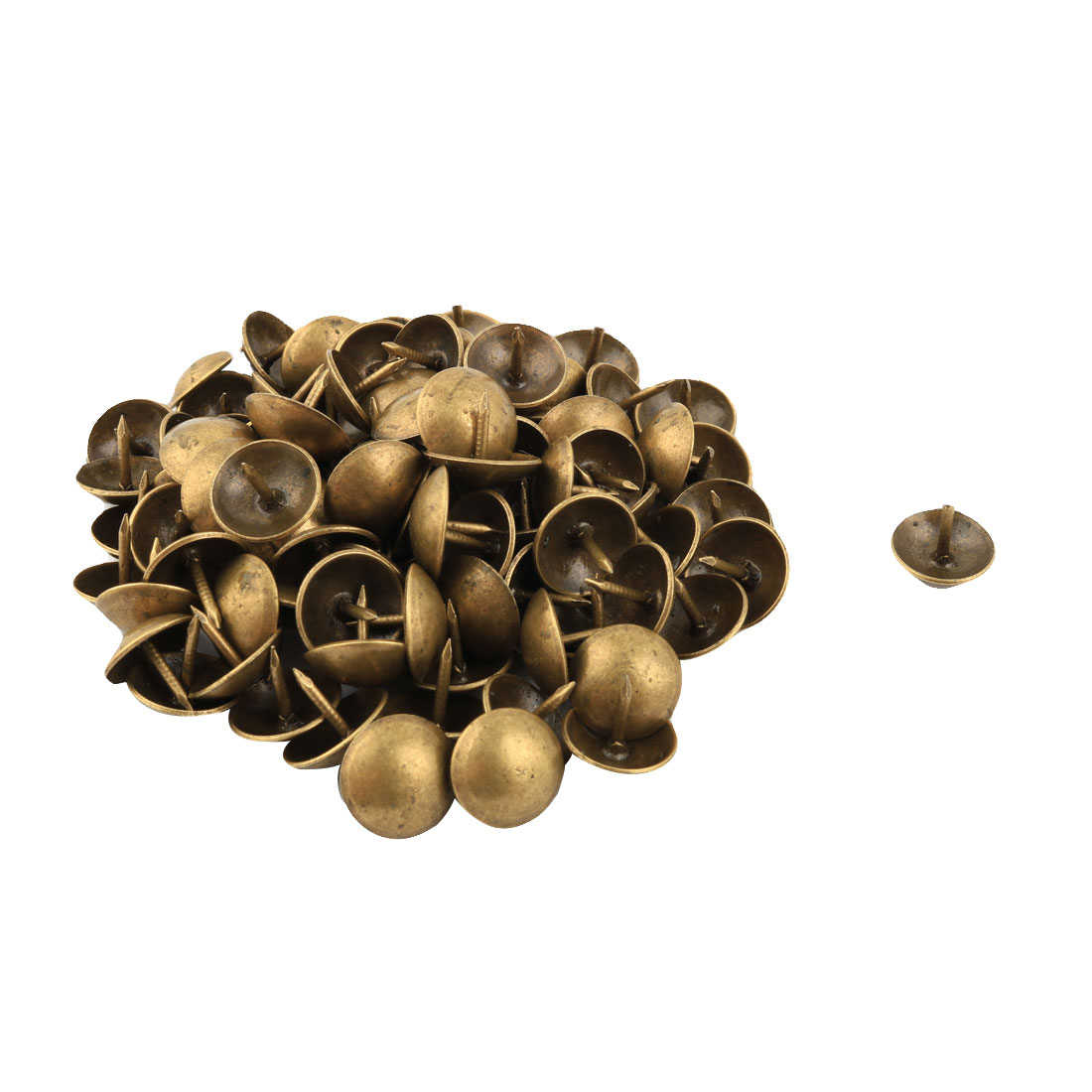 Home Furniture Decoration Upholstery Thumb Tack Nail Bronze Tone 14mm Dia 98pcs