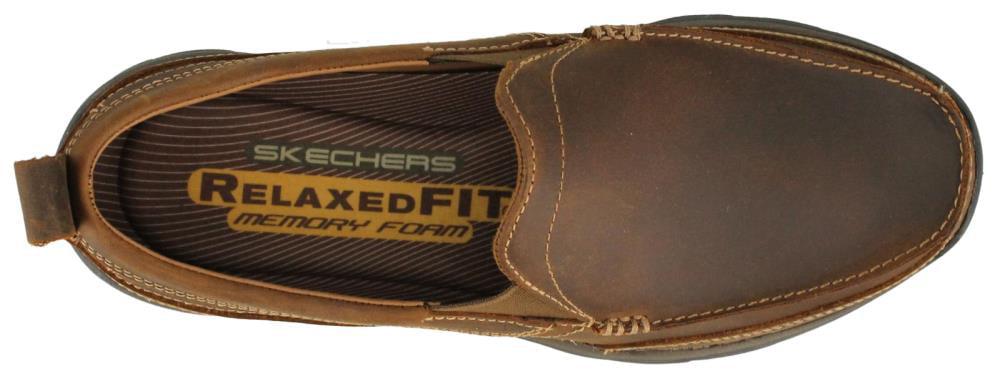Skechers USA Men's Relaxed Fit Memory Foam Superior Gains Slip-On,10 M US,Dark Brown