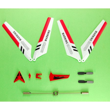 Helicopter Blade Balancer (Syma S107 Full Replacement Parts Set for Syma S107 RC Helicopter Main Blades, Tail Decorations, Tail Props, Balance Bar RED)