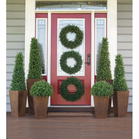 Outdoor Topiary - Faux Boxwood Polypropylene Topiary Indoor / Outdoor Cone