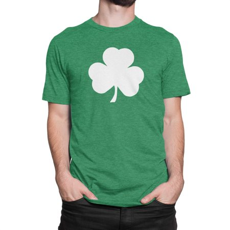 NYC FACTORY USA Screen Printed Green Irish Shamrock T-Shirt St Patricks Day Mens Ireland Tee Shirt (Heather Green,