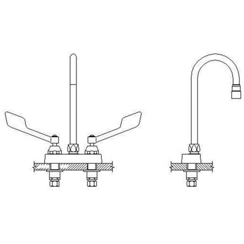 Delta 27C4845 Commercial Double Handle Ceramic Disc Lavatory Faucet with Gooseneck Spout and Vandal Resistant Wrist Blade Handles, Chrome