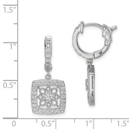 Sterling Shimmer QE11279 Boucle d'oreille en forme de flocon de neige carr-e, articul-e, en zirconium plaqu- en argent sterling, polie - image 1 de 2