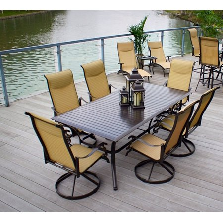 7pc Cast Aluminum and Swivel Sling Chairs & Slat Top Table with 2 Chaise Loungers & Side Table- Bronze & (Sling Bronze)