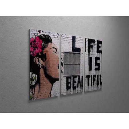 Banksy Life Is Beautiful Triptych Gallery Wrapped Canvas Wall Art