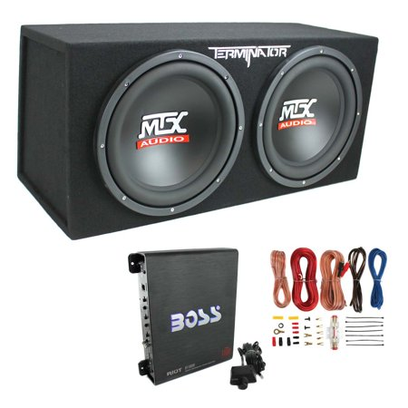 "MTX TNE212D 12"" 1200W Dual Loaded Car Subwoofer Enclosure w/ Amplifier & Wiring"