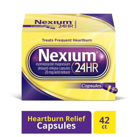 Nexium 24HR Capsules (20mg, 42 Ct) Delayed Release Heartburn Relief, Esomeprazole Magnesium Acid (Best Immediate Heartburn Relief)