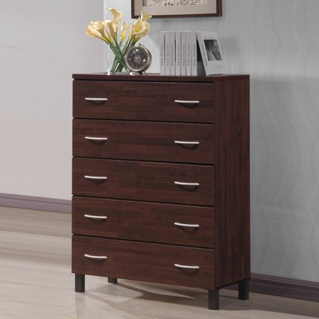 Brown Wood Chest (Baxton Studio Maison Modern and Contemporary Oak Brown Finish Wood 5-Drawer Storage)