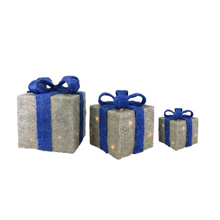 Christmas Decorations Outdoors (Set of 3 Lighted Silver with Blue Bows Sisal Gift Boxes Christmas Outdoor)