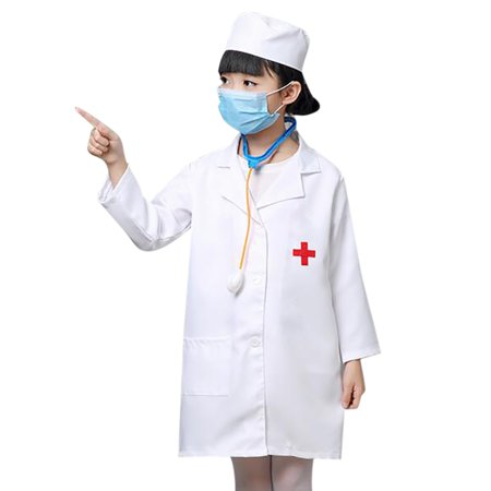 Kids Doctor Coat (TOPTIE Kids Lab Coat Uniform, Doctor Role Play Costume-White One)