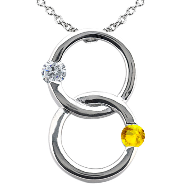 0.61 Ct Round G/H Diamond Yellow Sapphire 18K White Gold Pendant