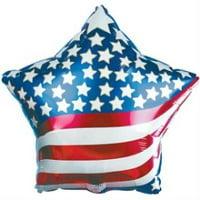 Patriotic Stars & Stripes Foil Balloon, 4PK