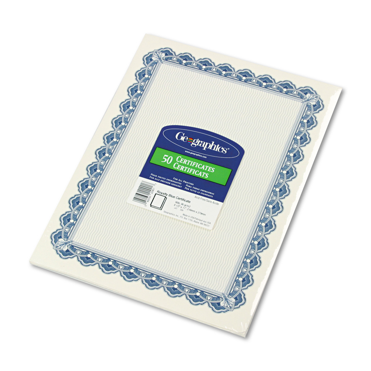 Geographics Parchment Paper Certificates, 8-1/2 x 11, Blue Royalty Border, 50/Pack -GEO22901