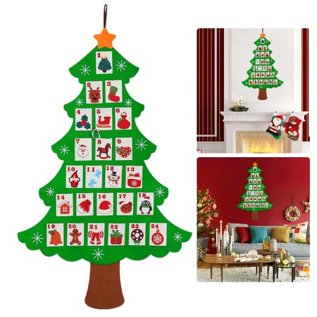 NICEXMAS Hanging Felt Christmas Tree Calendar Countdown to Christmas Advent Calendar
