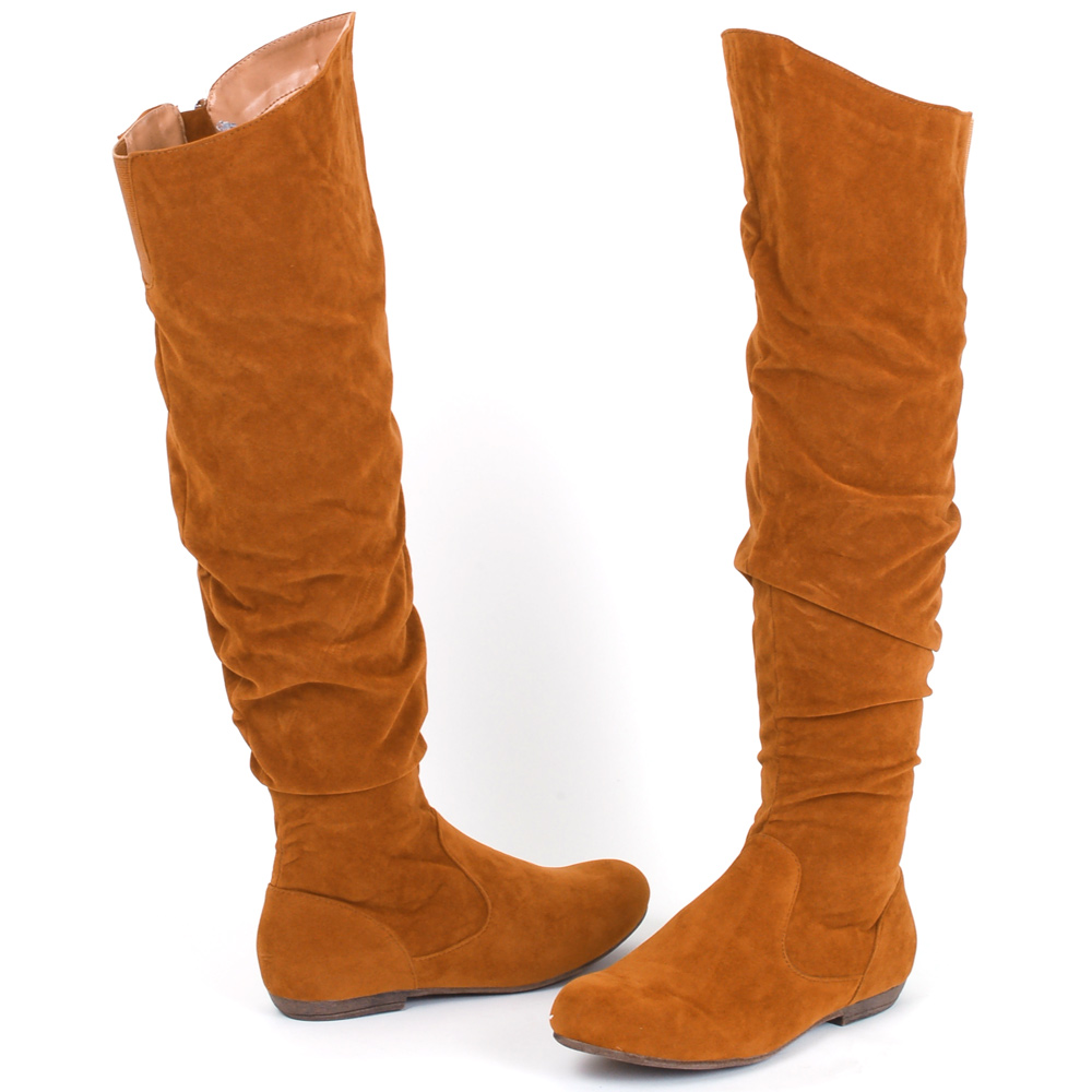 Womens Slouch Boots Knee High Flats Heel Faux Suede Velvet Soft Stretch Fit Calf