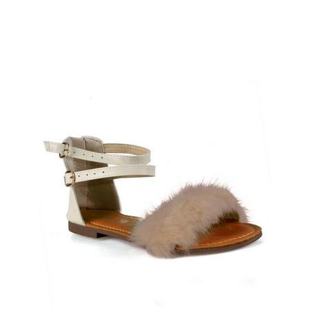 Stella Madden Fur Trim Ankle Strap Women's Flat Sandals in Beige