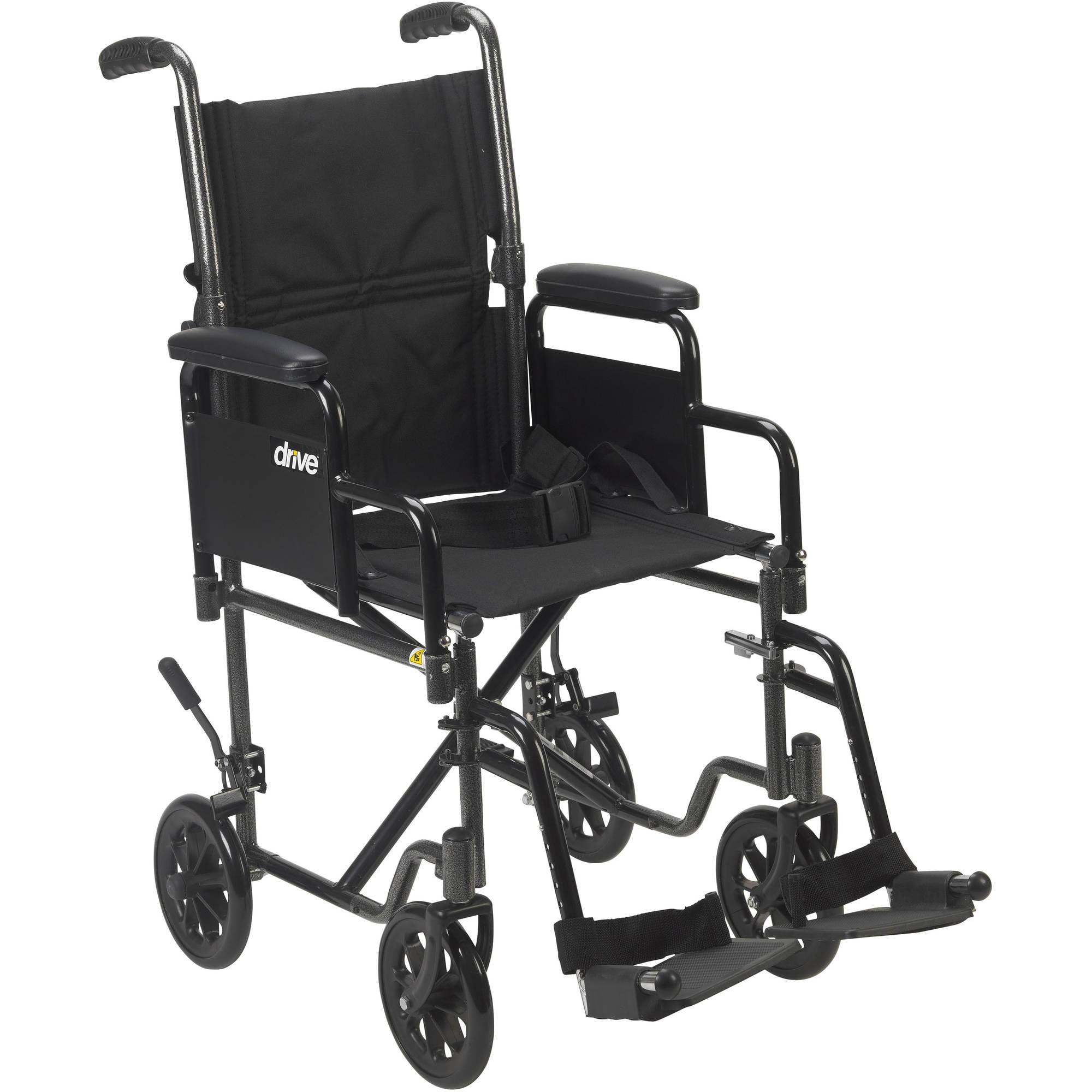 "Drive Medical Lightweight Steel Transport Wheelchair, Detachable Desk Arms, 17"" Seat"