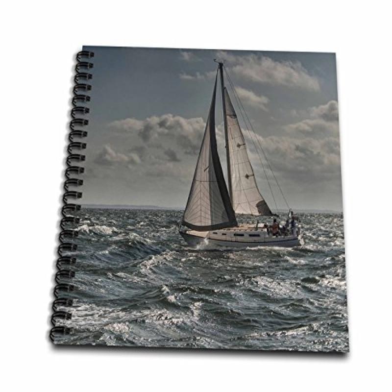 3dRose db_203178_1 Sailboat in Turbulent Waters Drawing B...
