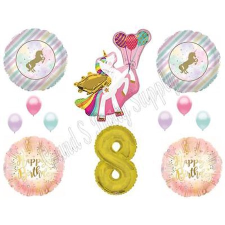 WINGED UNICORN 8th Happy Birthday Party Balloons Decoration Pastel Gold Eighth