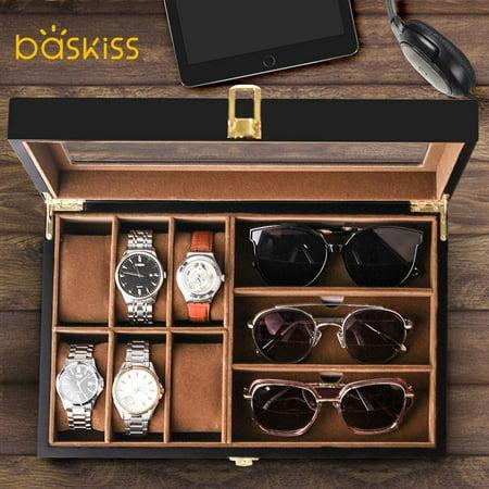 Baskiss 6 Slots Watch Box And 3, Sunglasses Storage Case