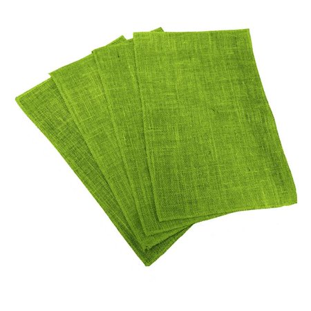 PM-Burlap12x18-Pk4-Lime Dyed Natural Burlap Placemats, Lime - 12 x 18 in. - Pack of 4 ()