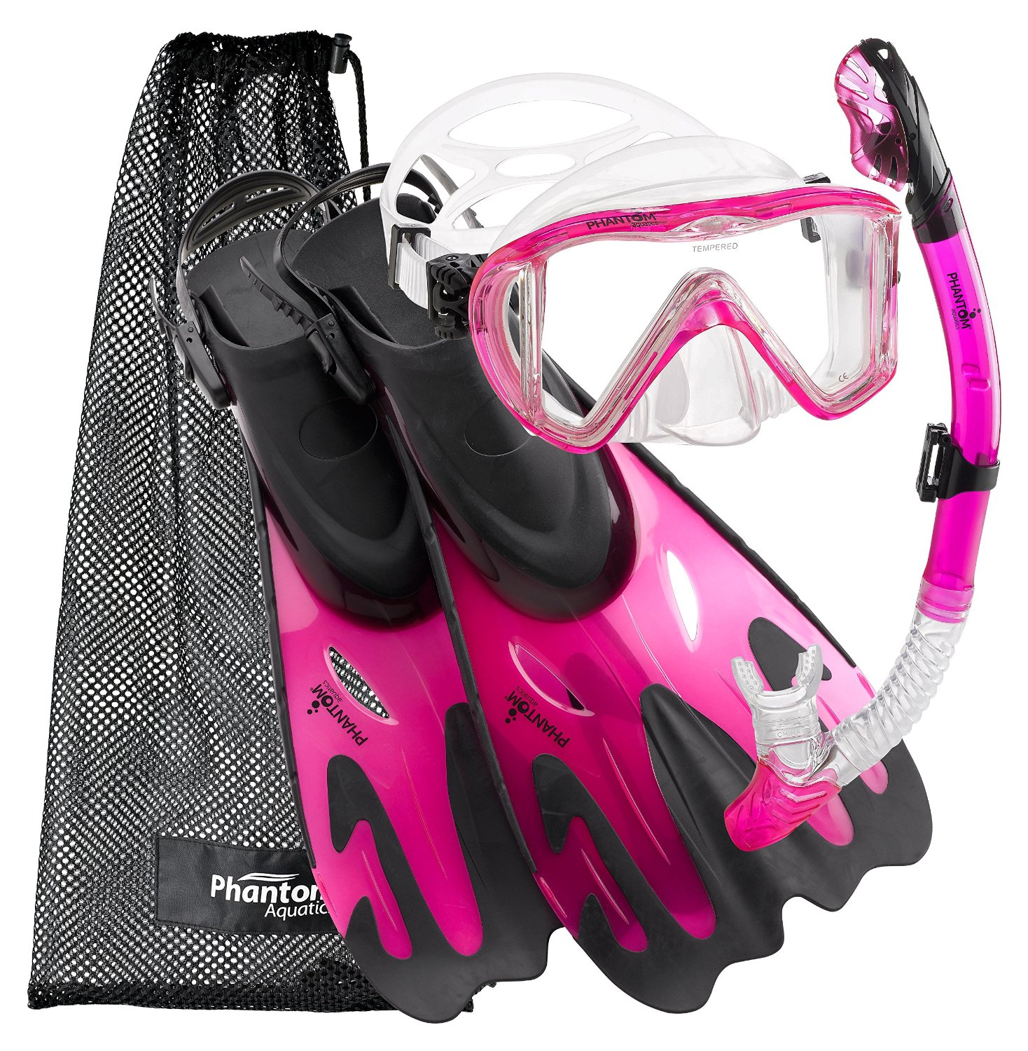 Click here to buy Phantom Aquatics Legendary Mask Fin Snorkel Set with Mesh Bag.
