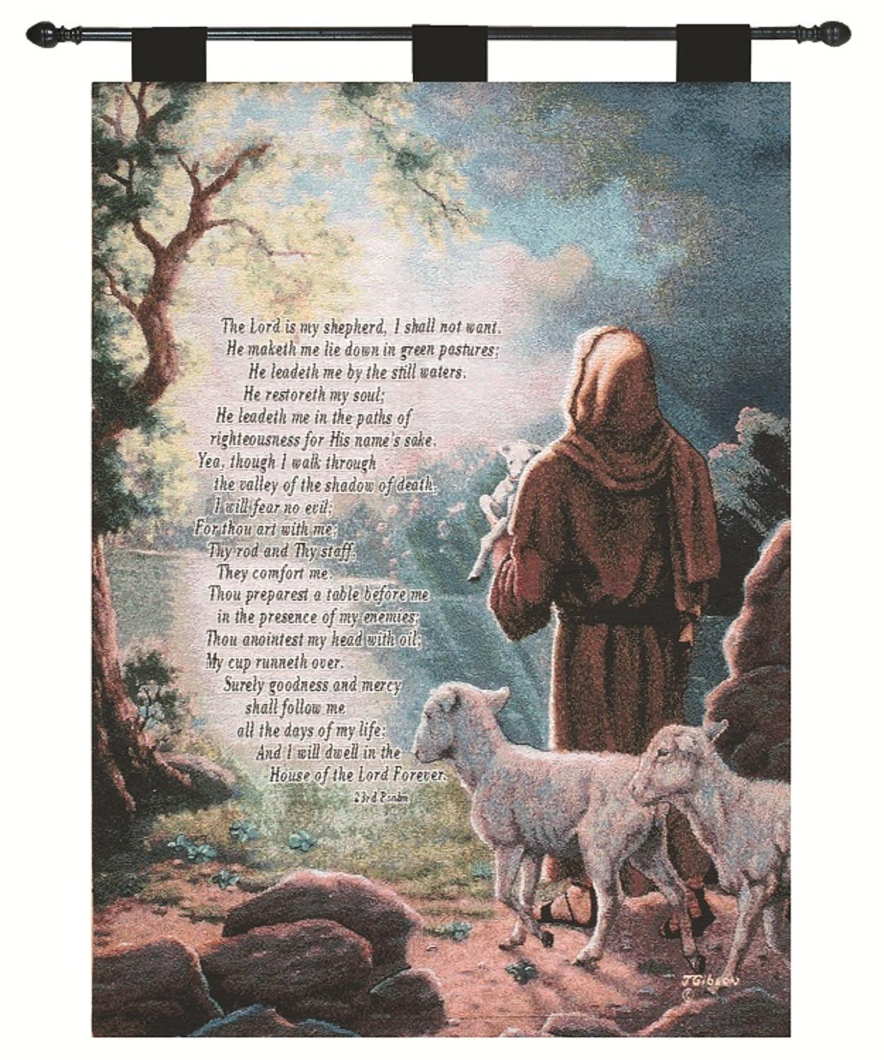 "Judy Gibson ""The Lord is My Shepard"" Prayer Religious Verse Pictorial Wall Artwork Hanging Tapestry 26"" X... by Manual Weavers"