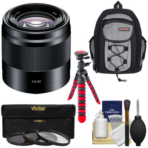 Sony Alpha E-Mount 50mm f/1.8 OSS Lens (Black) with Sling Backpack + 3 Filters + Flex Tripod Kit for A7, A7R, A7S Mark II, A5100, A6000, A6300 Cameras