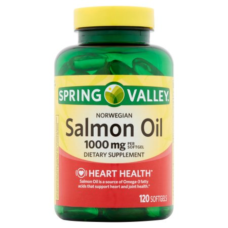 (2 Pack) Spring Valley Norwegian Salmon Oil Softgels, 1000 mg, 120 Ct