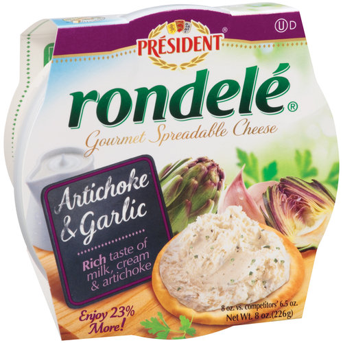 Rondele by President Artichoke & Garlic Gourmet Spreadable Cheese, 8 oz