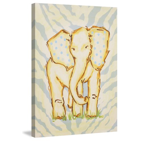"""Yellow Elephant"" Painting Print on Wrapped Canvas"