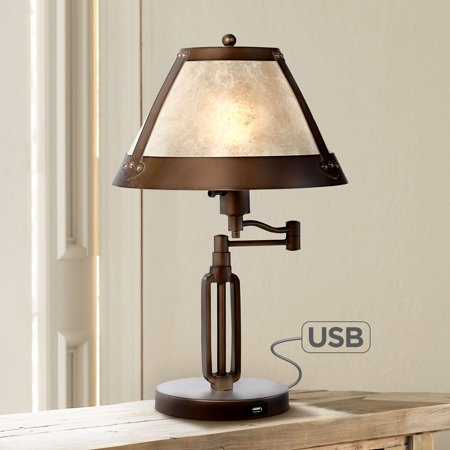 Franklin Iron Works Traditional Desk Table Lamp Swing Arm with Hotel Style USB Charging Port Bronze Natural Mica Shade for Bedroom (Bronze Vented Natural)