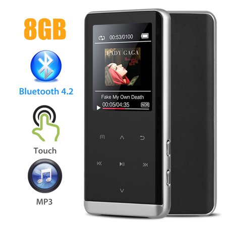 EEEkit Bluetooth 4.2 8GB MP3 Player,Upgraded Lossless Sound Sport Music Player with FM Radio,Voice Recording,Include Wired Earphones,1.8'' Screen