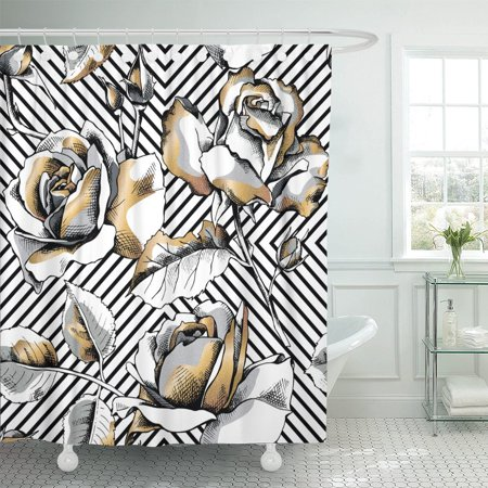 PKNMT Pattern of Gold Rose Flowers on Black Geometric Floral Shower Curtain 60x72 - Shower Of Flowers
