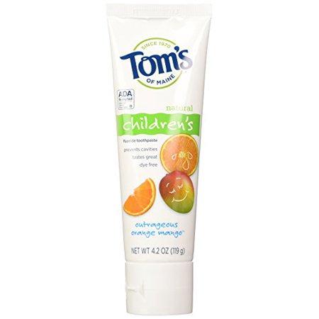 4 Pack - Tom's Orange Mango w/Fluoride Kids Toothpaste - 4.2oz Each (Toms Kids Orange)