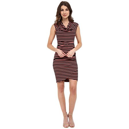 684bc14a5d862 NICOLE MILLER - Nicole Miller Women's Jolly Stripe Cowl Dress Hot  Coral/Black Dress MD (US 8-10) - Walmart.com