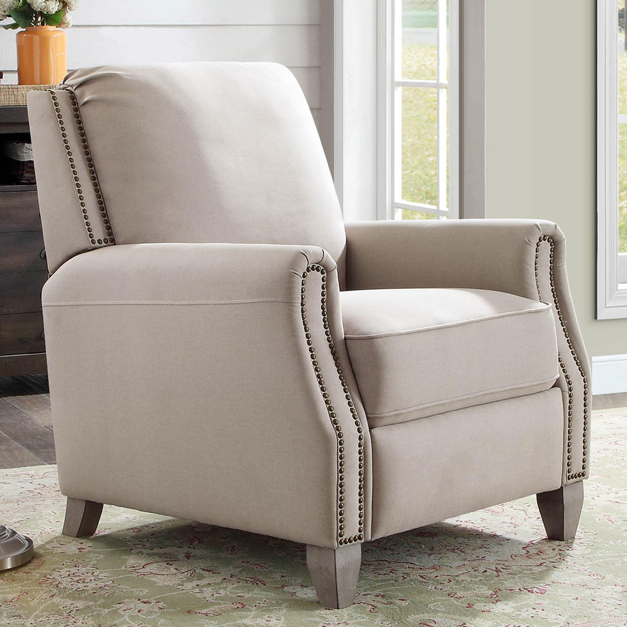 better homes and gardens recliner. better homes \u0026 gardens pushback recliner, beige fabric upholstery with bronze nail-head trim and recliner d