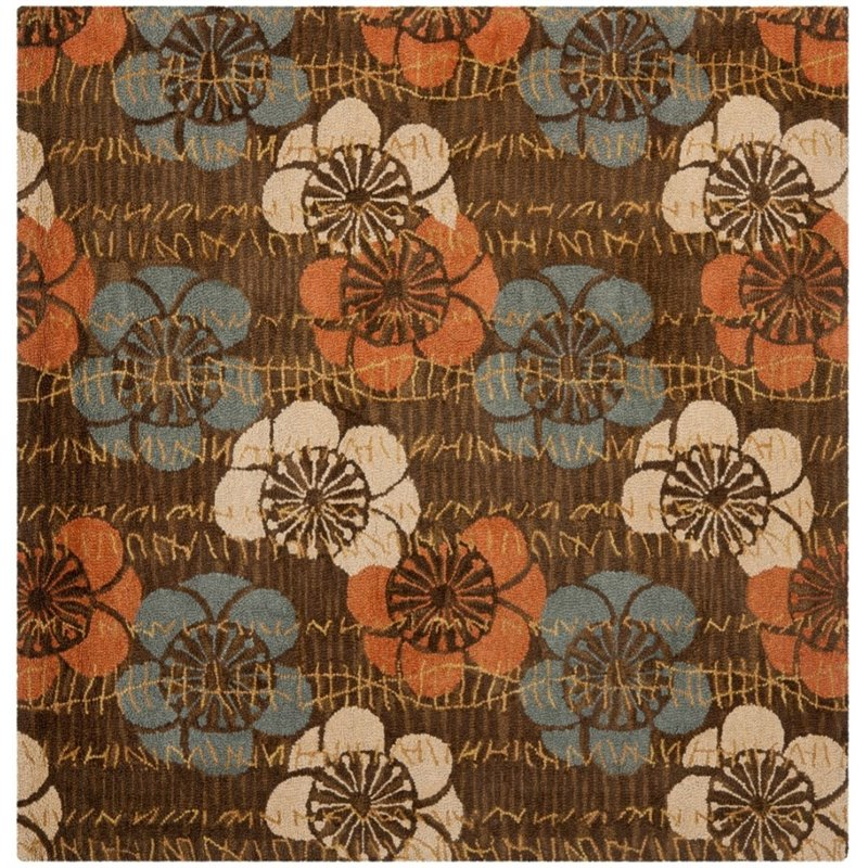 Safavieh Blossom 5' X 8' Hand Hooked Wool Rug in Brown - image 3 de 6