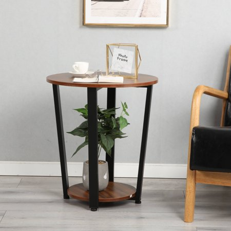 Harper&Bright Designs Industrial Square Pine Wood End Table, Rustic Design Craftsman Wood Finish Table