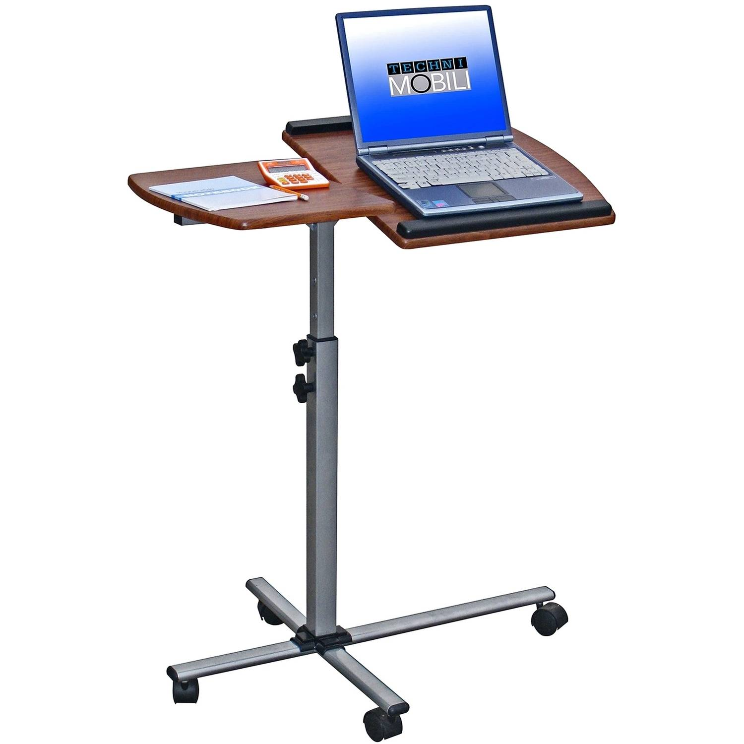 Techni Mobili Deluxe Rolling Adjustable Height, Tilting Laptop Cart, Mahogany (RTA-B003-M615)