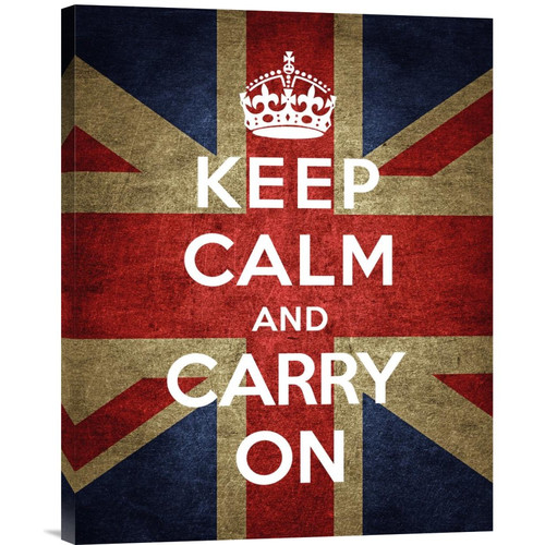 Global Gallery 'Keep Calm and Carry On - Union Jack' by The British Ministry of Information Graphic Art on Wrapped Canvas