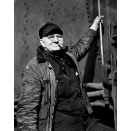 Portrait of man stoking boiler in train Canvas Art -  (24 x 36)
