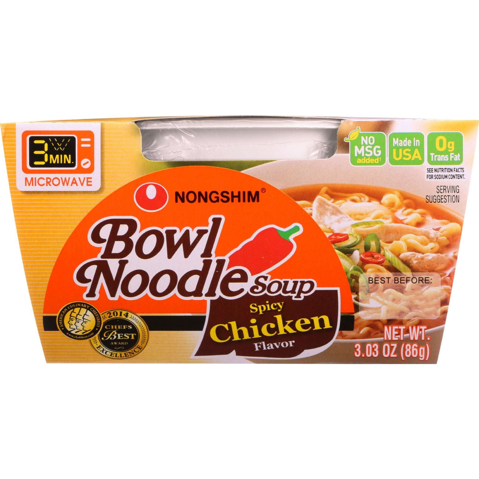 Nongshim Bowl Noodle Spicy Chicken, 3.03 Oz, 12 Ct